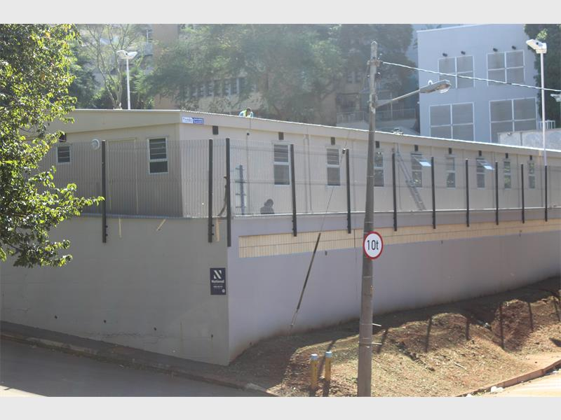 The temporary renal centre that has been constructed in the hospital car park.