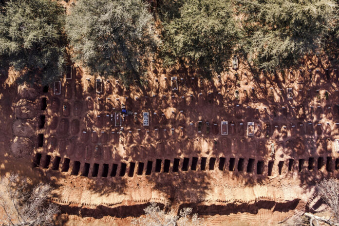 Burying the dead: An aerial photo taken earlier this month shows a row of freshly dug graves at a cemetery in Johannesburg. (Photo: Marco Longari)