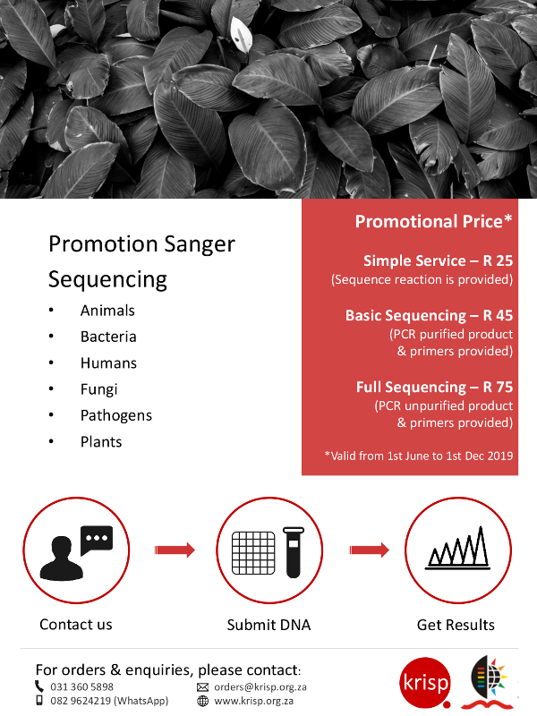 KRISP is running a Sanger Sequencing promotions to celebrate the launch of two new Sanger Sequencers (ABI 3730xl and 3500). Unbelievable prices for the first 6 months in 2019