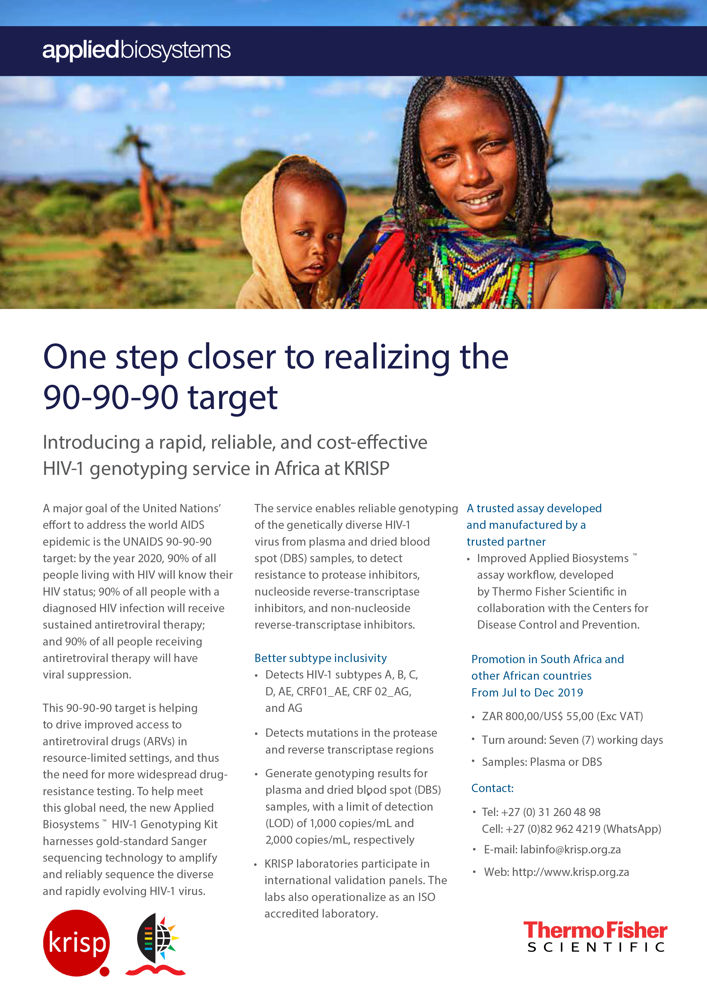 HIV-1 genotyping service in Africa: rapid, reliable, and cost-effective by KRISP and Thermo Fisher Scientific