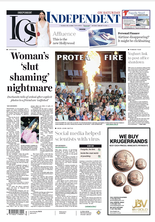 front page of the Saturday Independent, Durban, social media help scientists with virus