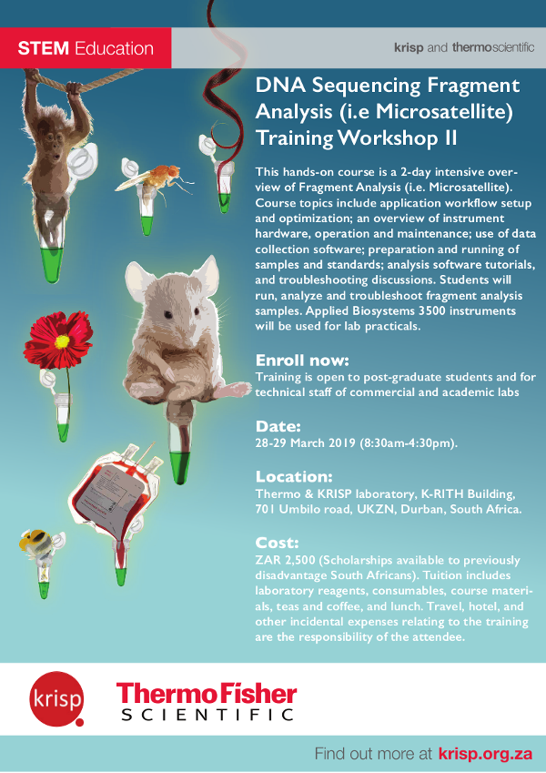 KRISP Education: Capillary Electrophoresis (i.e. Sanger Sequencing) Training Workshop, KRISP and ThermoScientific Workshop, Durban, South Africa, 28-29 March 2019