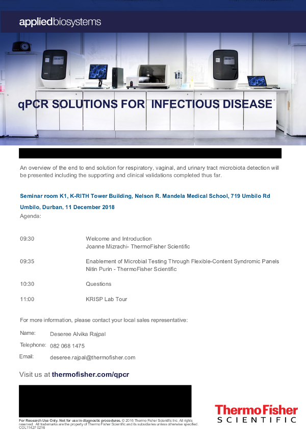 KRISP Thermo Fisher Seminar qPCR Solutions for Infectious Disease Seminar, 11 December 2018