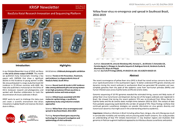 KRISP newsletter Nov 2019 Art & Science output of KRISP: Decline in HIV Incidence in Young Women & Ethics of HIV phylogenetics.