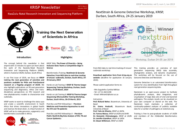 KRISP newsletter January 2019, Training the next generation of scientists, positions available for PhDs and Post-Docs in Durban South Africa