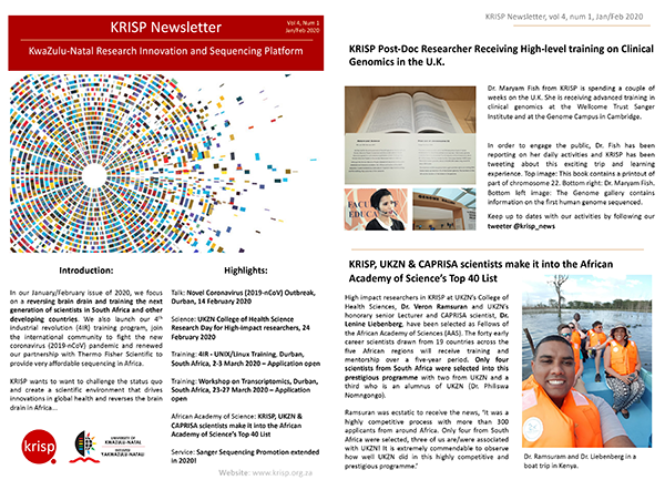 KRISP newsletter Jan 2020  a reversing brain drain and training the next generation of scientists in South Africa and other developing countries