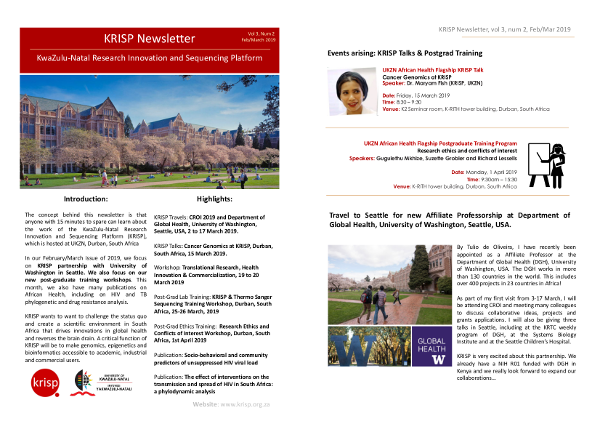KRISP newsletter Feb/Mar 2019, Partnership with University of Washington, postgraduate training and translational science workshop