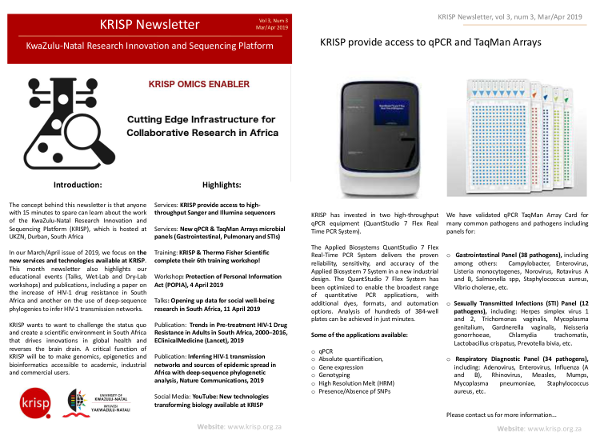KRISP newsletter Mar/Apr 2019, New services and technologies available at KRISP, educational events and publications on drug resistance and phylogenetic analysis