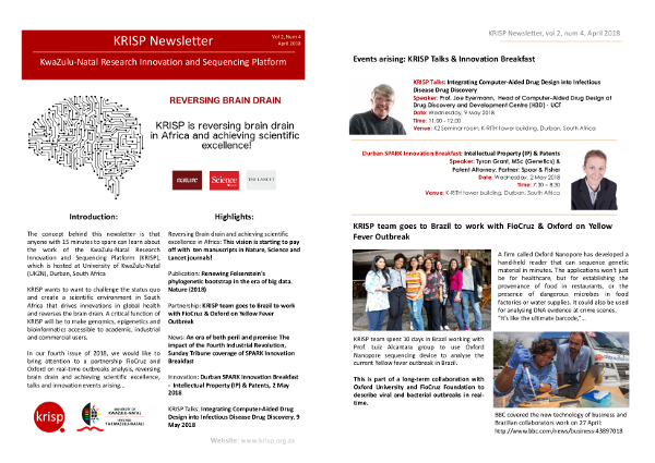 KRISP newsletter April 2018, Partnership FioCruz and Oxford on real-time outbreak analysis, reversing brain drain and achieving scientific excellence, talks and innovation events arising