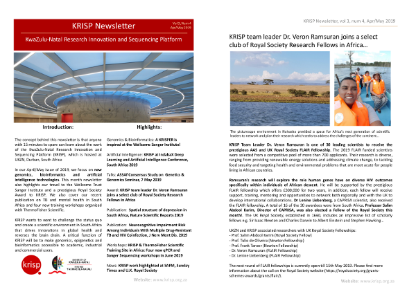KRISP newsletter Apr/May 2019, Genomics, bioinformatics and artificial intelligence at KRISP