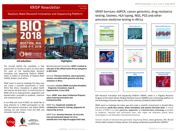 KRISP newsletter May 2018, KRISP on the official South African delegation of the BIO international convention in Boston, Global SPARK meeting, new services and online quote section of website, genome detective, inovation breakfast and talk