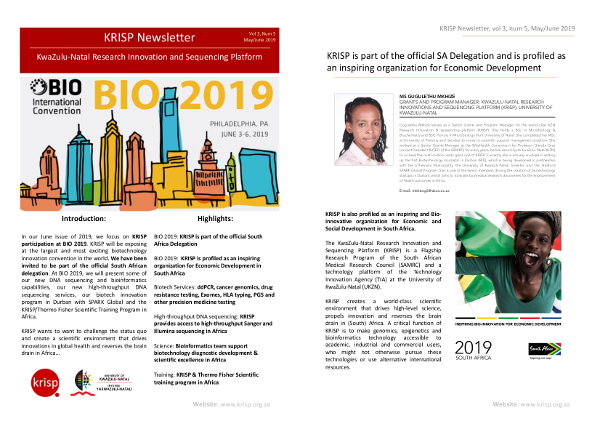 KRISP newsletter May/June 2019, BIO 2019, South African delegation, sequencing services and thermo fisher scientific training