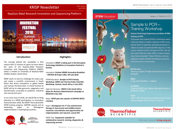 KRISP newsletter June 2018, KRISP participated in the Innovate Durban 2018 Festival, Sample to PCR KRISP and Thermo-Fisher Scientific Workshop, KRISP gets two awards at SANTHE DELTA initiative and Lancet HIV paper on Dolutegravir for first line therapy in developing countrie