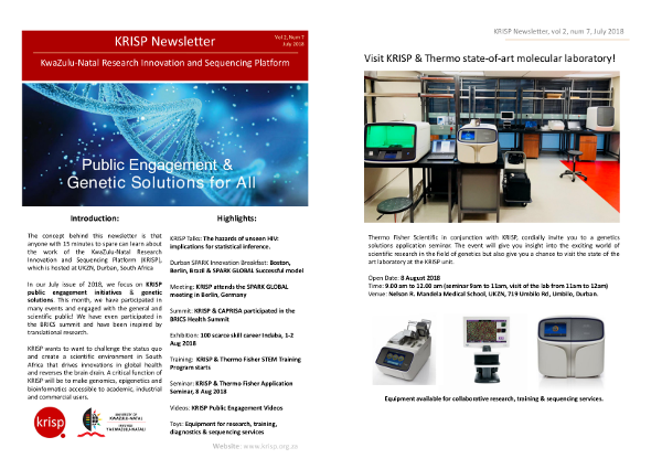 KRISP newsletter July 2018, KRISP public engagement initiatives & genetic solutions with Thermo Fisher Scientific. This month, we have participated in many events and engaged with the general and scientific public