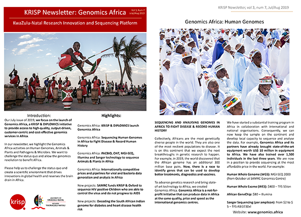 KRISP newsletter July/August 2019 KRISP & DIPLOMICS launch of Genomics Africa to provide access to high-quality, output-driven, customer-centric and cost-effective genomics services in Africa