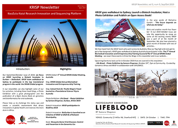 KRISP newsletter Oct 2019 BioDurban & KRISP walkabout to Sydney to participate in the top translational program in the world: the SPARK Global program.