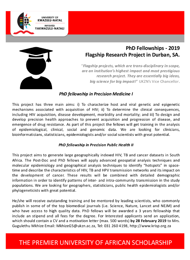 PhD scholarships on Precision Medicine and Public Health, 2019, Durban, South Africa