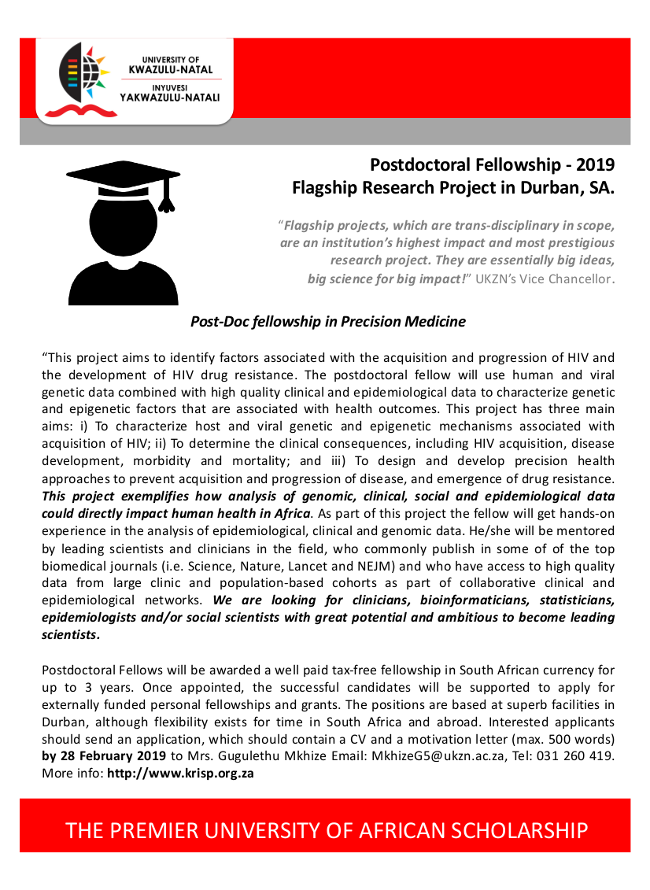 precision medicine postdoctoral fellowship 2019, Durban, South Africa