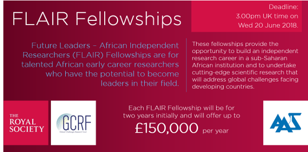 UK Royal Society FLAIR fellowship 2018