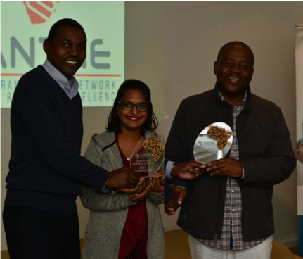 KRISP researchers Upasana Ramphal and Dr. Marcel Tongo scooped two of the three awards at the SANTHE research day held on the 6 - 7 June 2018 at Crinkly Bottom in Waterfall, South Africa.