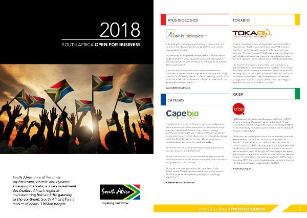 South Africa Open for Business Booklet BIO Convention 2018 feature KRISP