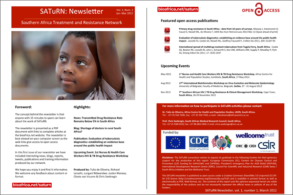 saturn newsletter, southern african treatment resistance network newsletter information on hiv and tb drug resistance