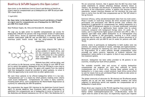 Open letter on urgent need for compassionate use of bedaquiline for XDR-TB and pre-XDR-TB in South Africa