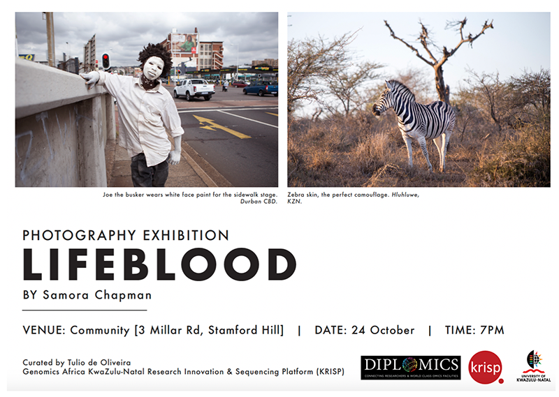 LifeBlood  - Photo Exhibition by Samora Chapman, October 24th, 7pm at Community.  Curated by Genomics Africa and KRISP in collaboration with DIPLOMICS