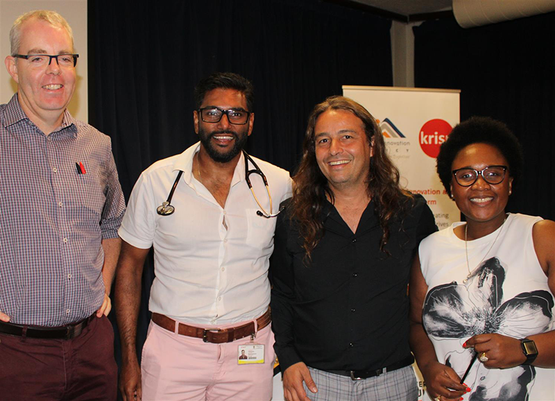 By Danica Hansen, North Glen News, February 22, 2020, Dr Richard Lessells (KRISP), Dr Nithendra Manickchund, a specialist from King Edward Hospital's department of infectious diseases, Professor Tulio De Oliveria (KRISP) and Dr Nonkukhanya Mdlalose